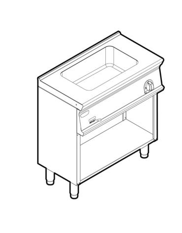 Bagnomaria elettrico su vano aperto monofase-1,3kw, 1 vasca AISI 304 - GN1/1 dim. cm 30,6x50,8x16,5h - dim tot. cm 80x45x90h