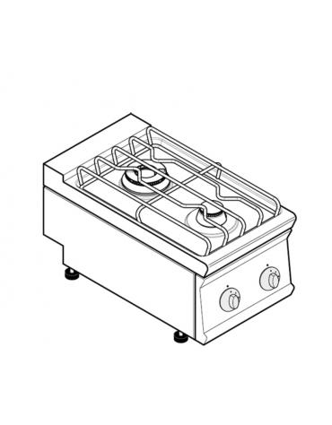 Piano di cottura a gas 2 fuochi, potenza fuochi aperti 1x3,3 + 1x7,2kw - cm 40x70x28h