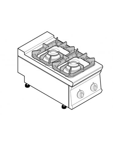 Piano di cottura a gas 2 fuochi, potenza fuochi aperti 2x7,2kw - cm 40x70x28h