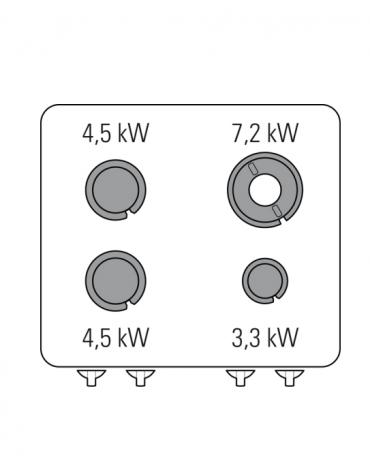 Piano di cottura a gas 4 fuochi, potenza fuochi aperti 1x3,3kw+2x4,5kw+1x7,2kw - cm 80x70x28h