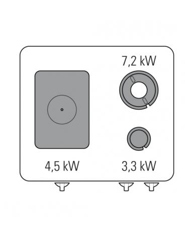 Piano di cottura a gas 2 fuochi con 1 piastra cm 30,9x55,4, potenza fuochi aperti 1x3,3kw + 1x7,2kw - cm 80x70x28h