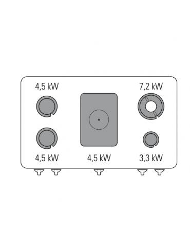 Piano di cottura a gas 4 fuochi con 1 piastra cm 30,9x55,4, potenza fuochi aperti 1x7,2kw+1x3,3kw+2x4,5kw - cm 120x70x28h