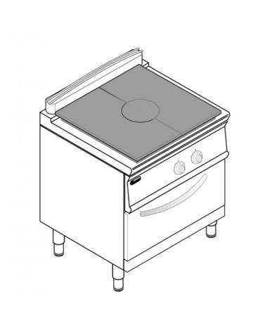 Cucina tuttopiatsra a gas, forno a gas GN 2/1, potenza pistra 1x9kW - cam. forno cm 57,5x65x30 - cm 80x70x90h