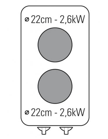Piano di cottura elettrico trifase-5,2kw, 2 piastre Ø cm 22 - cm 40x70x28h
