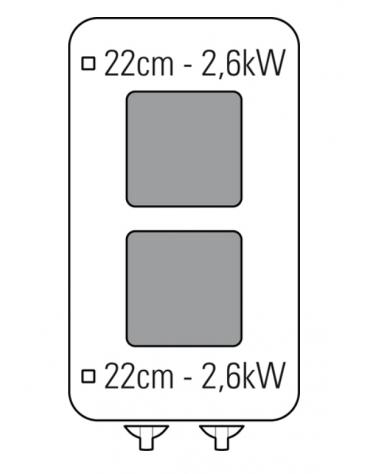 Piano di cottura elettrico trifase-5,2kw, 2 piastre cm 22x22 - cm 40x70x28h