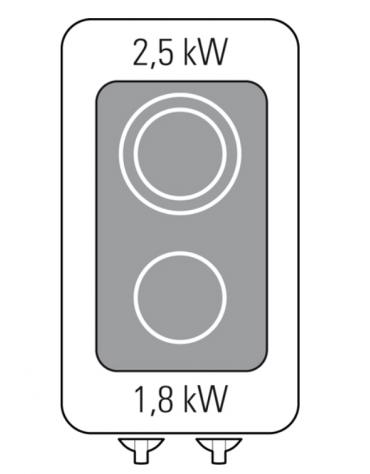 Piano di cottura elettrico trifase-4,3kw, con 2 piani di cottura in vetroceramica - cm 40x70x28h