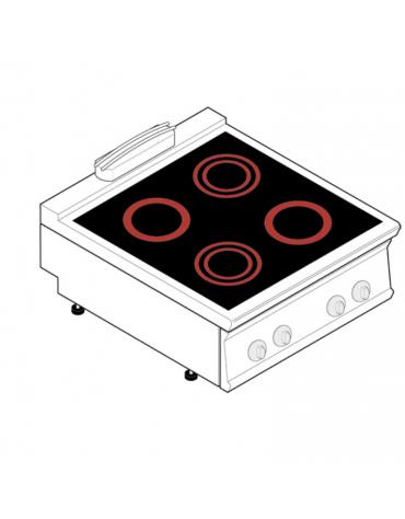Piano di cottura elettrico trifase-8,6kw, con 4 piani di cottura in vetroceramica - cm 80x70x28h