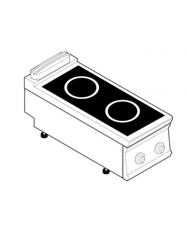 Piano di cottura ad induzione trifase-7kw, con 2 piani di cottura - cm 40x70x28h