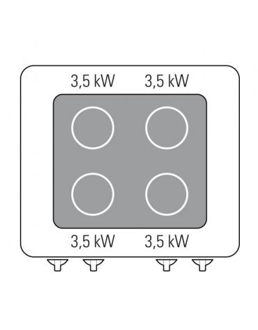 Piano di cottura ad induzione trifase-14kw, con 4 piani di cottura - cm 80x70x28h