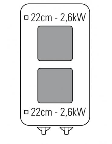 Piano di cottura elettrico trifase-5,2kw, 2 piastre quadre cm 22x22, su vano aperto cm 33x57,4x39,5 - dim tot. cm 40x70x90h