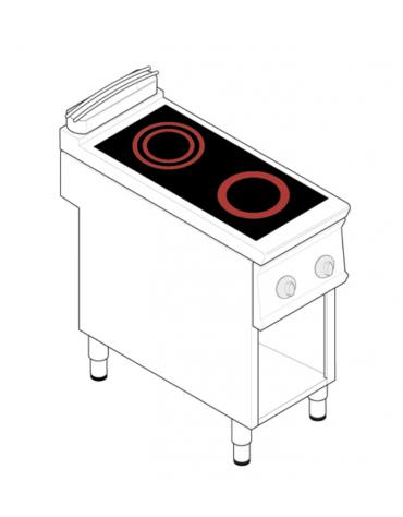 Piano di cottura elettrico trifase-4,3kw, con 2 piani di cottura in vetroceramica su vano aperto - cm 40x70x90h