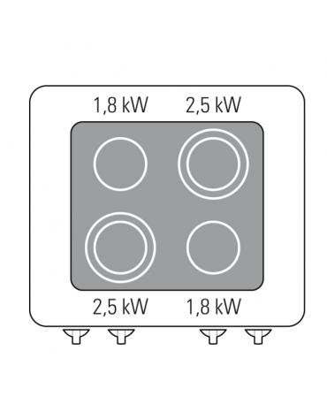Piano di cottura elettrico trifase-8,6kw, con 4 piani di cottura in vetroceramica su vano aperto - cm 80x70x90h