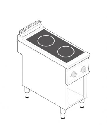 Piano di cottura ad induzione trifase-7kw, con 2 piani di cottura su vano a perto cm 33x57,4x39,5h - cm tot. 40x70x28h