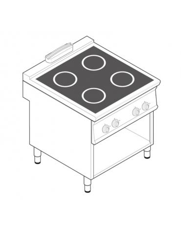 Piano di cottura ad induzione trifase-14kw, con 4 piani di cottura su vano a perto cm 73x57,4x39,5h - cm tot. 80x70x90h