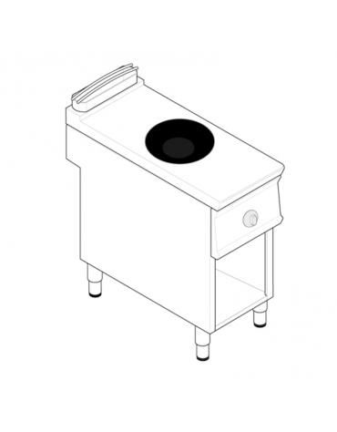 Piano di cottura ad induzione Wok trifase-5kw, con 1 piano di cottura su vano aperto cm 33x57,4x39,5h - cm 40x70x90h