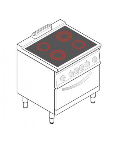 Cucina elettrica trifase-13,3kw, con 4 piani di cottura in vetroceramica, cam. forno cm 57,5x65x30  - dim tot. cm 80x70x90h