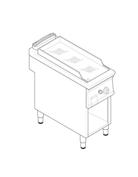 Fry top a gas su vano aperto, 7 kw, piastra liscia cromata, consumo gas 0,74 m³/h - sup. cottura cm 33x57,4x39,5 - cm. 40x70x90h