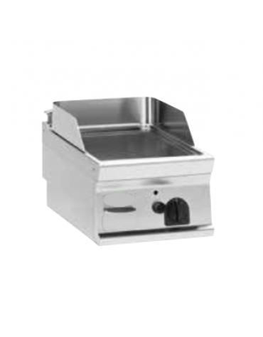 Fry top elettrico trifase-3,9kw da banco, piastra liscia, r. temp. 50÷320 °C - sup. di cottura cm 35,3x56,4  - dim. 40x70x28h