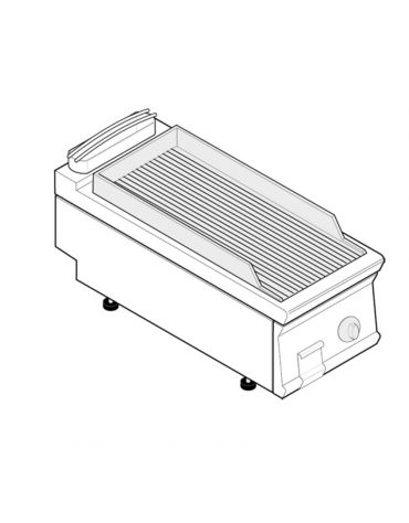 Fry top elettrico trifase-3,9kw da banco, piastra rigata, r. temp. 50÷320 °C - sup. di cottura cm 35,3x56,4  - dim. 40x70x28h
