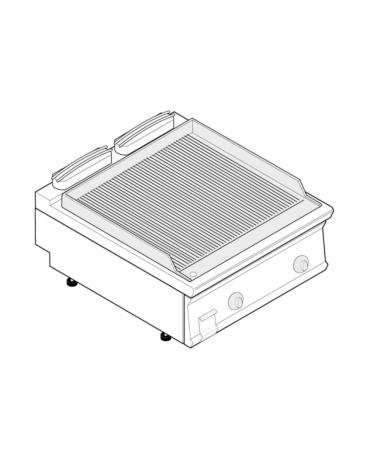 Fry top elettrico trifase-7,8kw da banco, piastra rigata, r. temp. 50÷320 °C - sup. di cottura cm 74,8x56,4  - dim. 80x70x28h