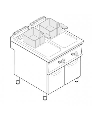 "Friggitrice a gas freestanding, 2 vasche a ""V"" dim. cm 24x34,2x31,5h - 13lt + 13lt - cm 80x70x90h"