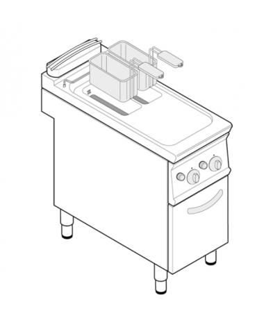 Friggitrice a gas freestanding, 2 vasche con scambiatori di calore, cm 14x34,2x30,5h - 8+8lt - cm tot. 40x70x90h