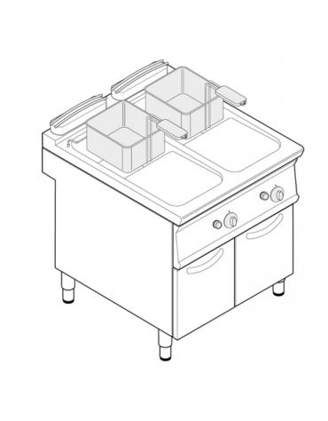 Friggitrice a gas freestanding, 2 vasche con scambiatori di calore, cm 14x34,2x30,5h - 13+13lt - cm tot. 80x70x90h
