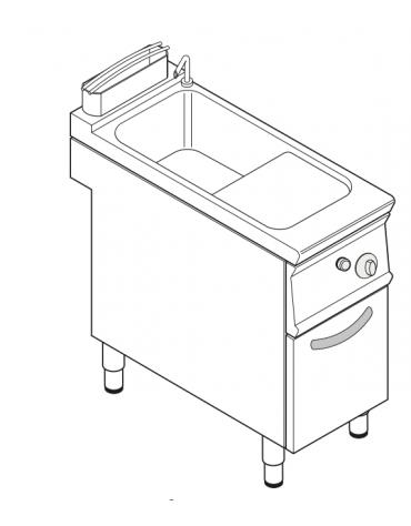 Cuocipasta a gas, GN2/3 - AISI 316 da 24 litri di capacità - cm 40x70x90h