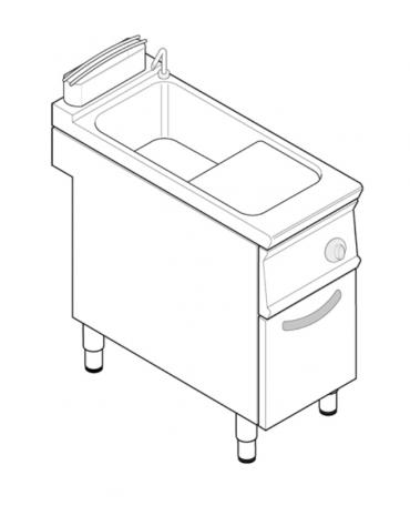 Cuocipasta elettrico trifase-6kw, in acciaio in acciaio inox AISI 316 da 24 litri di capacità - cm 40x70x90h