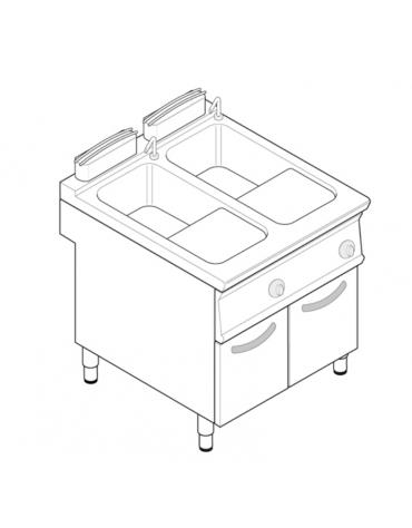 Cuocipasta elettrico trifase-12kw, in acciaio in acciaio inox AISI 316 da 24+24 litri di capacità - cm 80x70x90h