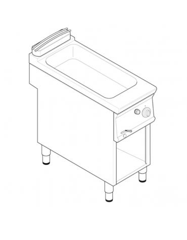 Bagnomaria a gas su vano aperto, 1 vasca AISI 304 - GN1/1 cm 30,6x50,8x16,5h - dim tot. cm 40x70x90h