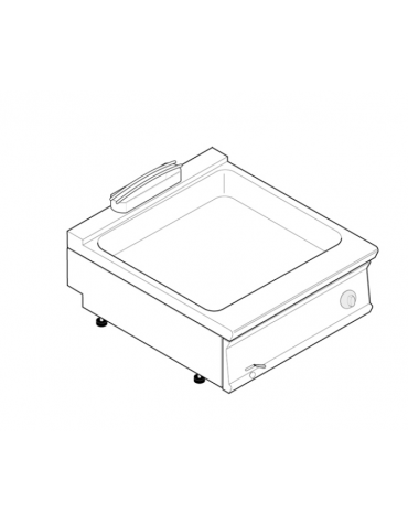 Bagnomaria elettrico da banco monofase-2,6kw, 1 vasca AISI 304 - GN2/1 dim. cm 63x50,8x16,5h - dim tot. cm 80x70x28h