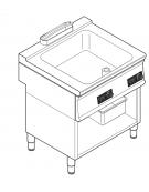 Brasiera elettrica multifunzione con controllo elettronico, trifase-9kw, 1 vasca AISI 304, cap. 28lt - dim tot. cm 80x70x90h
