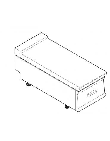 Piano di lavoro in acciaio inox con piano rinforzato, con cassetto cm 29,5x56x10h - dim tot. cm 40x70x28h