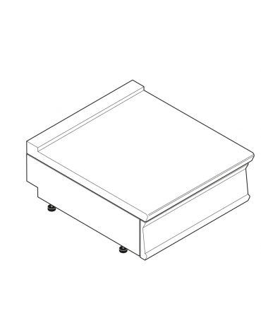 Piano di lavoro in acciaio inox con piano rinforzato, senza cassetto - cm 80x70x28h