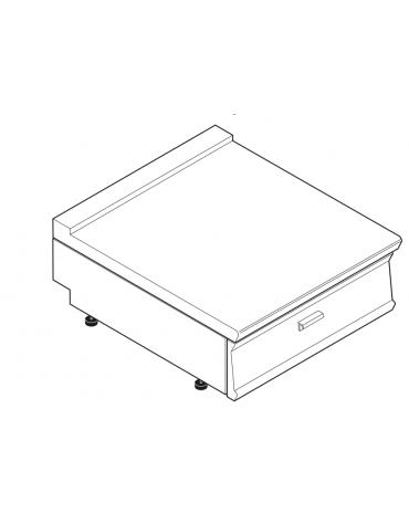 Piano di lavoro in acciaio inox con piano rinforzato, con cassetto cm 69,5x56x10h - dim tot. cm 80x70x28h