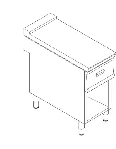 Piano di lavoro in acciaio inox con piano rinforzato, con cassetto su vano aperto cm 33x57,4x39,5h - dim tot. cm 40x70x90h