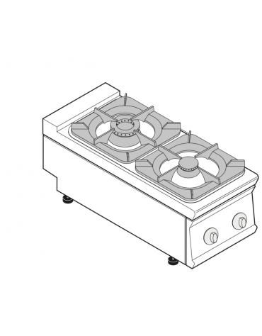 Piano di cottura a gas 2 fuochi, potenza fuochi aperti 1x5,5kw + 1x9kw - cm 40x90x28h