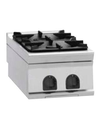 Piano di cottura a gas 2 fuochi, potenza fuochi aperti 2x9kw - cm 40x90x28h