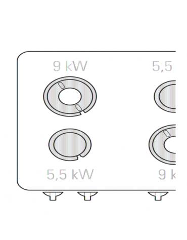 Piano di cottura a gas 4 fuochi, potenza fuochi aperti 2x5,5kw + 2x9kw - cm 80x90x28h