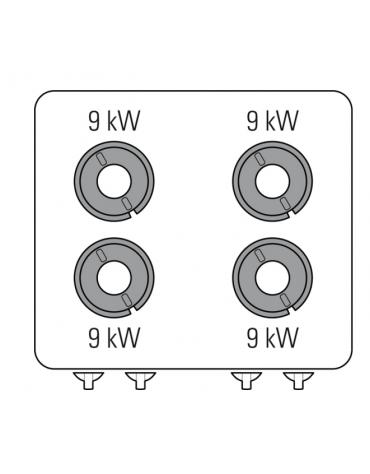 Piano di cottura a gas 4 fuochi, potenza fuochi aperti 4x9kw - cm 80x90x28h