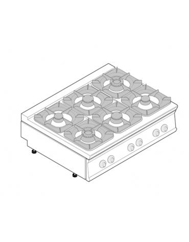 Piano di cottura a gas 6 fuochi, potenza fuochi aperti 4x5,5kw + 2x9kw - cm 80x90x28h