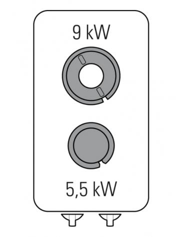 Piano di cottura a gas 2 fuochi su vano aperto, potenza fuochi aperti 1x5,5kw + 1x9kw - cm 40x90x90h