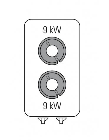 Piano di cottura a gas 2 fuochi su vano aperto, potenza fuochi aperti 2x9kw - cm 40x90x90h