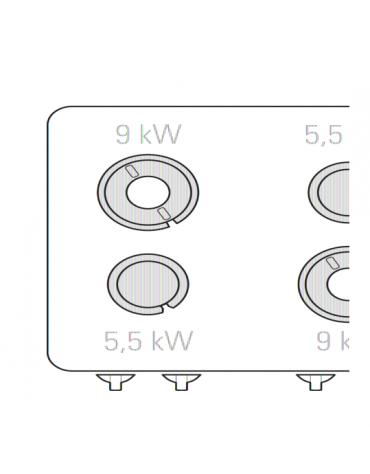 Piano di cottura a gas 4 fuochi su vano aperto, potenza fuochi aperti 2x5,5kw + 2x9kw - cm 80x90x90h