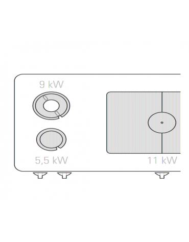 Piano di cottura a gas su vano a perto, 2 fuochi con 1 piastra cm 76,6x68,3, fuochi aperti 1x5,5kw + 1x9kw - cm 120x90x90h