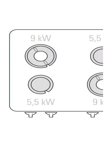 Cucina a gas 4 fuochi, forno a gas GN 2/1, fuochi aperti 2x5,5kw + 2x9kw - cam. forno cm 57,5x65x30 - cm 80x90x90h