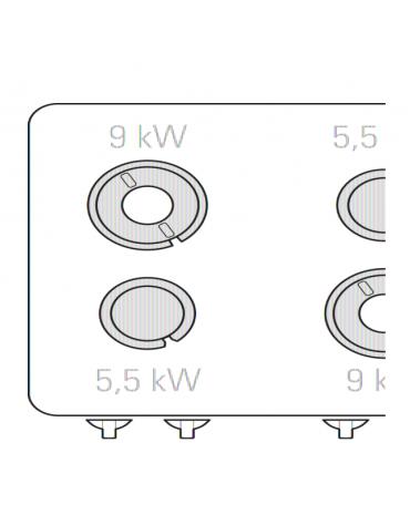 Cucina a gas 4 fuochi, forno elettrico GN 2/1, fuochi aperti 2x5,5kw + 2x9kw - cam. forno cm 57,5x65x30 - cm 80x90x90h