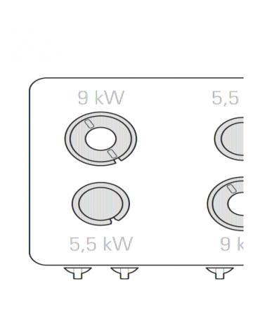 Cucina a gas 4 fuochi, forno elettrico ventilato GN 1/1, fuochi aperti 2x5,5kw + 2x9kw - cam. forno cm 57x51,5x30 - cm 80x90x90h