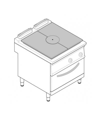 Cucina tuttopiatsra a gas, forno a gas GN 2/1, potenza pistra 1x11kW - cam. forno cm 57,5x65x30 - cm 80x90x90h